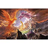 Sunnay 5d Diamante Painting Full Grande, Phoenix y dragón Duelo Bergen Diamond Painting Set Bordados imágenes DIY Diamonds Pintura 30 x 40 cm