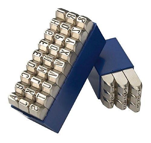 Gravurem 11710000 Schlagzahlen und -buchstaben 0-9 und A-Z,& (Kombination) in Schrifthöhe 10mm (VERNICKELTE OBERFLÄCHE)