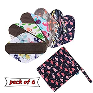 6Pcs Reusable Sanitary Pads with Extra Wet Bag, Washable Cloth Menstrual Pads/Panty Liners by Teamoy