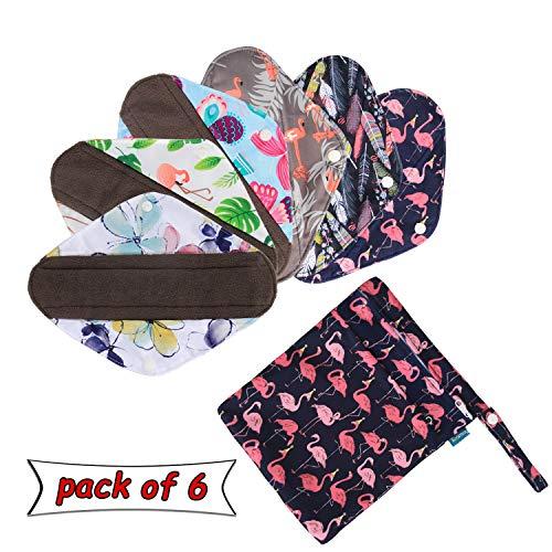 Teamoy Wiederverwendbare Binden, 6 Stück Slipeinlagen Waschbar, Baumwolle Menstruation Pads mit EXTRA Waschbare Tasche, (Klein-20,5 cm / 8 Zoll)