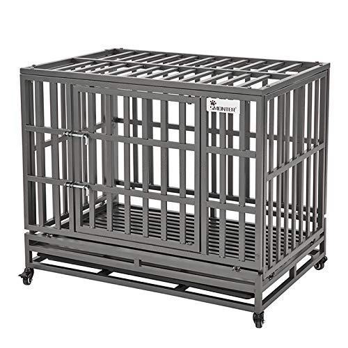 "SMONTER 38"" Heavy Duty Dog Crate Strong Metal Pet Kennel Playpen with Two Prevent Escape Lock, Large Dogs Cage with Wheels, Dark Silver"