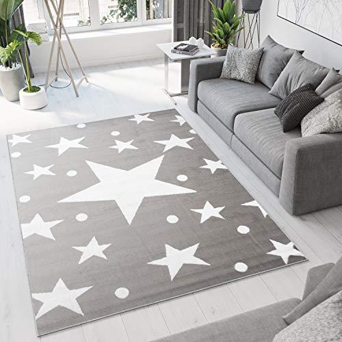 Tapiso Bali Alfombra de Salón Comedor Sala Diseño Moderno Gris Claro Blanco Estrellas Moteada Fina Suave 140 x 200 cm