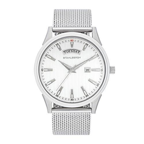 Stahlbergh Herren Uhr analog Japanisches Quarzwerk mit Edelstahl Armband Silber 5 ATM 10060051