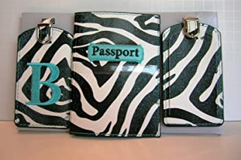 """Office Product MYX Animal Print Travel Accessories Set with Passport Cover and 2 Luggage Tags with Letter """"B"""" Book"""