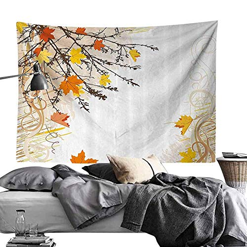 Jacoby Psychedelic Decorative Wandteppiche Nature Autumn Maple Leaves Branches in Fall Earthen Tones Faded Woodland Art Print Hippie Wandteppiche W60 x L50 Tan Yellow Orange