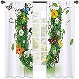 Lettera U Shading tenda isolata, capitalizzata U con schema di colori della foresta piante Wildflower farfalle design, tonalità insonorizzate, W52 x L72 pollici, verde multicolore
