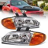 AJP Distributors 1 Piece Design JDM Headlights Lights Lamps Pair for Honda Civic 4 Door Dr Sedan 1992 1993 1994 1995 92 93 94 95 (Chrome Housing Clear Lens Amber Reflector)