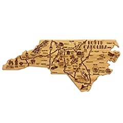 Board in the shape of North Carolina with permanent and laser engraved artwork Measures 18 by 8 by 5/8 inches Includes a hanging hole with a hang tie; Laser engraved artwork Flat grain bamboo and laser etched sides; Serves as an ideal serving platter...
