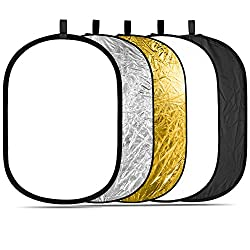 Neewer® 5-in-1 oval 120X180cm Foldable professional multi-pane light reflector with translucent, silver, black, gold, white surface