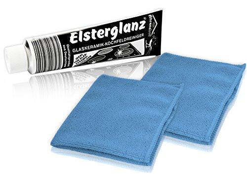 Helmecke & Hoffmann * Elsterglanz Glaskeramik-Kochfeldreiniger 150 ml XXL-Tube + Zwei Mikrofaser-Tücher | Das Original aus Deutschland