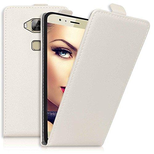 mtb more energy® Flip-Hülle Tasche für Huawei G8 (Rio) / Huawei GX8 (5.5'') - Weiß - Kunstleder - Schutz-Tasche Cover Hülle
