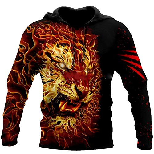 Hombre Mujer Animal Angry Fire Tiger 3D All Print Plus Hoodie Harajuku Outwear Zipper Pullover 3D Hoodies 5XL