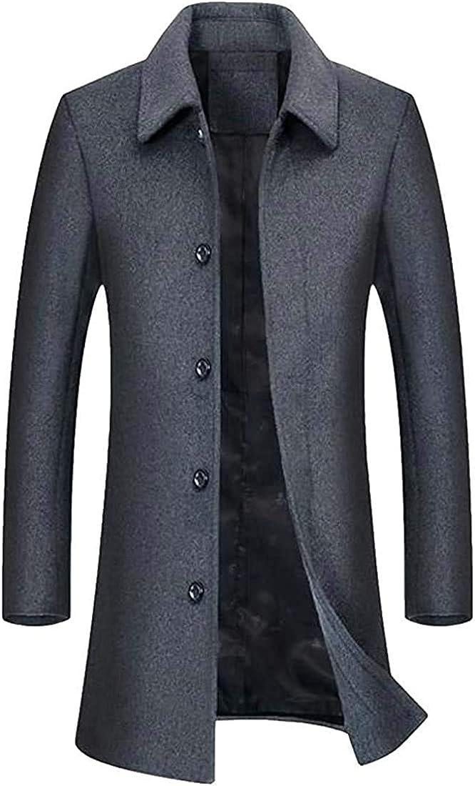 TIMOTHY BURCH Men BusinessButton Lapel Pocket Heavyweight Wool Blend Coat