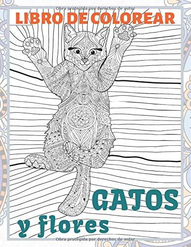 Gatos y flores - Libro de colorear