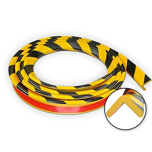 Betriebsausstattung24® Eckschutzprofil Typ E   gelb/schwarz   selbstklebend   Länge: 5,0 m