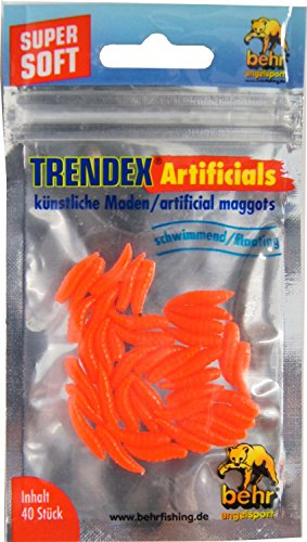Behr 40 künstliche Maden - Gummimaden Forellenköder, Kunstmaden zum Forellenangeln, Kunstköder für Forellen, Farbe:Japan-Rot