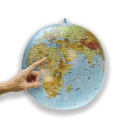 ORBIT GLOBES & MAPS - Wasserball aufblasbar, großer Globus für Kinder, deutsch, Durchmesser 40cm, physikalisches Kartenbild, für Garten, Strand und Pool