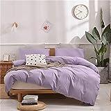 Janlive Washed Cotton Duvet Cover King Lavender Ultra Soft 100% Natural Cotton Solid Violet Duvet Cover Set with Zipper Closure -3 Pieces Purple King