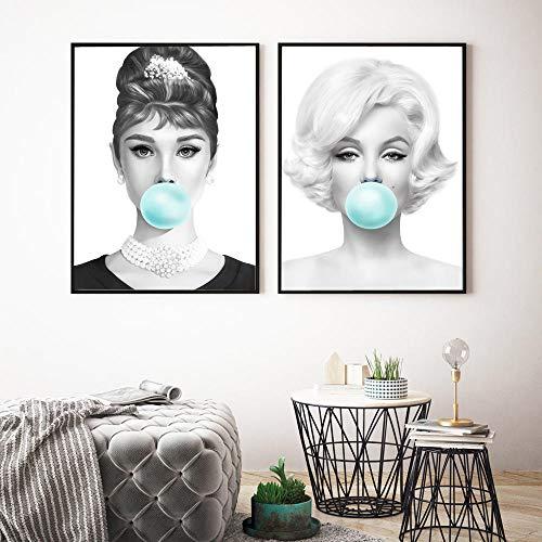 WTYBGDAN Audrey Hepburn con Impresiones en Lienzo de Chicle Verde, Cuadro de Arte de Pared, Pintura, póster de Marilyn Monroe para decoración de Sala de Estar | 45x60cmx2Pcs / Sin Marco