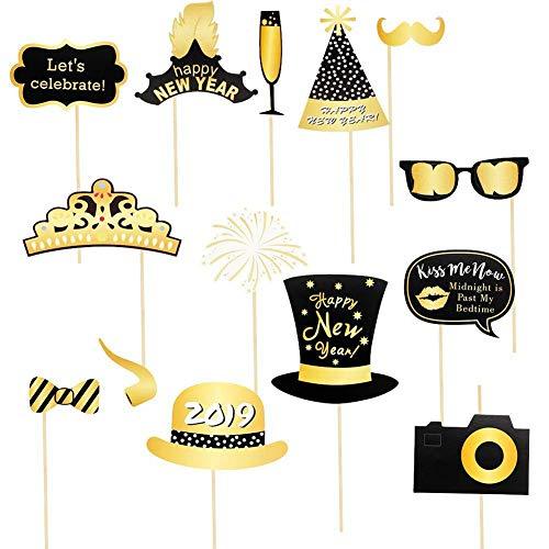 2019festiva Funny Oro y Negro Photo Booth Accesorios Kit Party accesorio Forma Barba