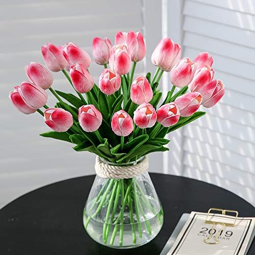 JUSTOYOU 20 STK PU Real Touch Latex Künstliche Tulpen Gefälschte Tulpen Blumen Blumensträuße Blumen Arrangement für Home Room Hochzeitsstrauß Party Herzstück Dekor Rosa - 4