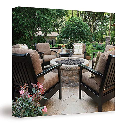 SUPNON Patio Fire Pit/Canvas Wall Art, Mordern Home Decoration 12'x12' №IS102588