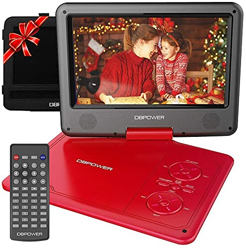 """DBPOWER 11.5"""" Portable DVD Player, 5-Hour Built-in Rechargeable Battery, 9"""" Swivel Screen, Support CD/DVD/SD Card/USB, Remote Control, 1.8 Meter Car Charger, Power Adaptor and Car Headrest (Red)"""