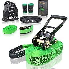 High Pulse® Slackline Set | 15 m - Complete slackline set (12,5 m lint + 2,5 m rateltape) met ratel, ratelbescherming, hulplijn, balanceerhulp, boombescherming en transportzak*