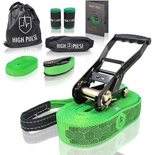 High Pulse® Slackline Set | 15 m – Komplettes Slackline-Set (12,5 m Band + 2,5 m Ratschenband) mit Ratsche, Ratschenschutz, Hilfsline, Balancierhilfe, Baumschutz und Transportbeutel