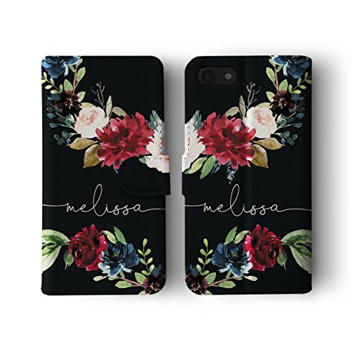Tirita Personalised Initials Custom Wallet Leather Flip Phone Case Compatible with iPhone 7/8 / SE 2020 PRINTED GLITTER, NOT REAL GLITTER Watercolour Floral Spring Summer Flowers Peony Roses