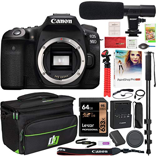 Canon EOS 90D DSLR Digital SLR Camera Body Only 32.5-MP APS-C CMOS 4K Video with Deco Gear Deluxe Gadget Bag Case Bundle + Microphone + Monopod + 64GB Memory Card & Kit Accessories