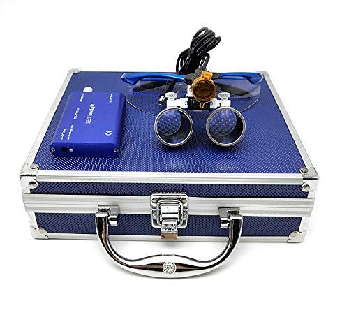 Occhialini binoculari chirurgici a distanza di lavoro 3,5 x 420 mm + faro anteriore 3W con filtro in alluminio blu