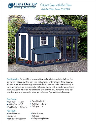 DIY Chicken Coop/Hen House 4 ft x 8 ft Gable/A Frame Roof Style Project Plans, Design 70408RG