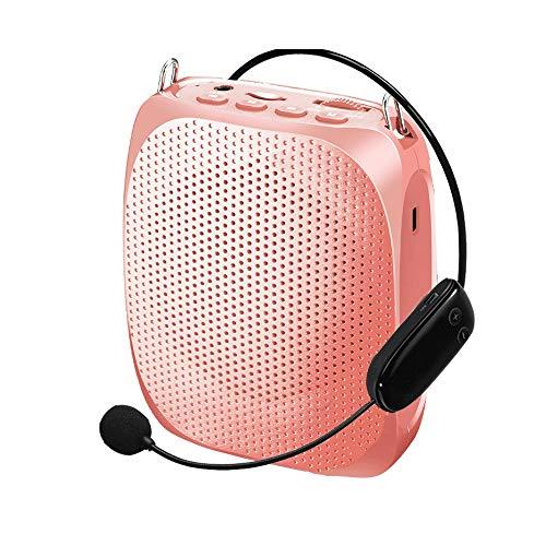 Bluetooth-Sprachverstärker, Wired-Mikrofon-Headset for Lehrer, Guide, Yoga, ältere Menschen, Outdoor/Indoor GAONAN (Color : Pink)