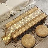 FLCSIed - Camino de mesa con 40 luces de cuerda de arpillera, tela de lino, mantel rectangular de encaje de yute natural para fiestas, cenas, recepciones, bodas, decoración de 12 x 108 pulgadas
