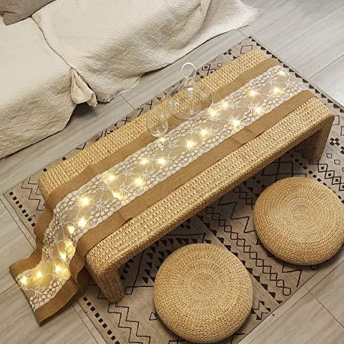 FLCSIed 40 diod LED bieżnik na stół ze sznurkiem światełka konopie rolka tkanina lniana, koronka naturalna juta prostokątny pokrowiec na stół na imprezę bufetową święta kolacja przyjęcie dekoracja ślubna -30 x 30 cm