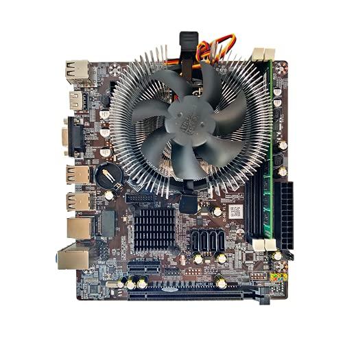 RTYU Fit for el Juego de Placa Base H81 LGA 1150 con CPU Intel Cori5-4590T 1Pcs * 8GB 1600Mhz DDR3 + Fan Memoria de Escritorio SATA III VGA
