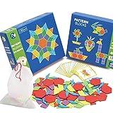 Ecoswaygeometry Puzzle Infantil Rompecabezas Juguetes, Madera Bloques Iq Patrón Puzzle Caja Montessori para Niños Formas Disección 130 Bloques 24 Diseños, Intelectual Desarrollo Puzle Rompecabezas