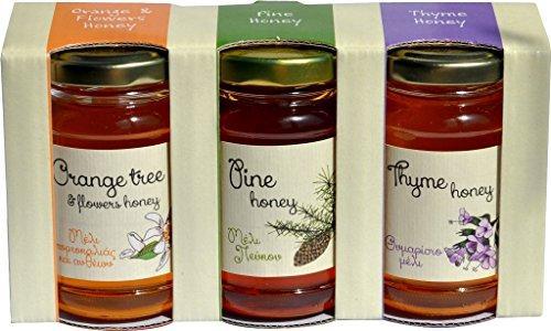 Geschenk-Set 3 Sorten Honig Thymian, Pinie, Orangenblüten 3 x130 g