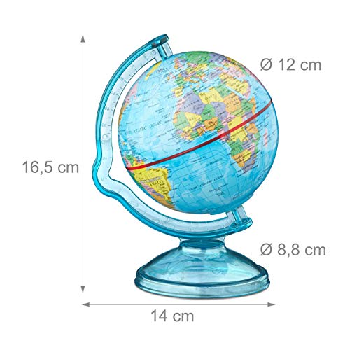 Relaxdays Spardose Globus HxBxT: 16,5 x 14 x 14 cm, politische Weltkarte, englische Beschriftung, Weltkugel, bunt - 4