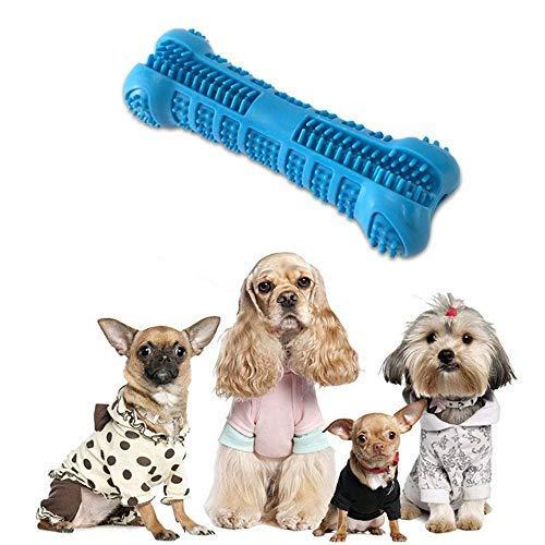 Hamkaw Hundezahnbürste, ungiftig, bissfest, Naturkautschuk, Kauspielzeug, Knochen, Zahnpflege, effektive Zahnreinigung für Hunde, Welpen, Haustiere, Mundpflege, Blau