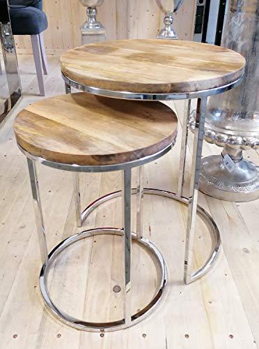 Salontafel set van 2 woonkamertafels bijzettafel tafel roestvrij staal hout zilver H 56 cm