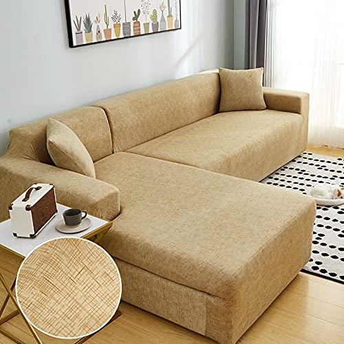 WXQY Chaise Longue Cubierta del sofá de la Sala de Estar Cubierta elástica para el Cabello, Todo Incluido sofá telescópico a Prueba de Polvo en Forma de L sofá A16 de 3 plazas