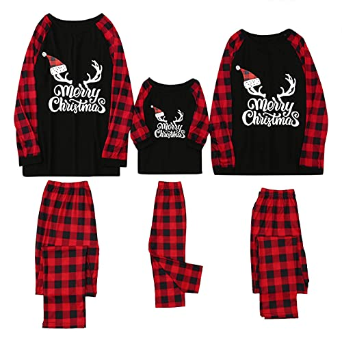 Family Matching Pajamas Set Christmas Cute Letter Printed Long Sleeve T Shirt for Kid Xmas Loungwear Sleepwear Pjs