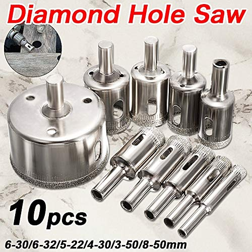 Kunle Hot Sale 10PCS/set 8-50mm Diamond Coated Core Hole Saw Drill Bits Tool Cutter For Tiles Marble Glass Granite Drilling Best Price NEW PRODUCT