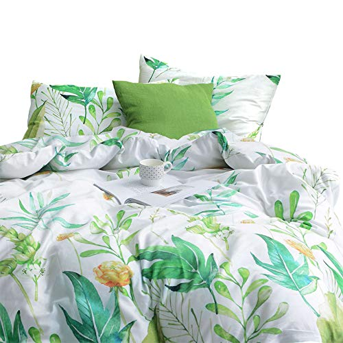 Wake In Cloud - Floral Comforter Set, 100% Cotton Fabric with Soft Microfiber Fill Bedding, Botanical Flowers and Green Tree Leaves Pattern Printed on White (3pcs, Queen Size)