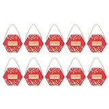 Rosvola Cajas de Regalo, 10 Cajas de Dulces determinadas, artículo Seguro del Material de Papel(Bronzing Red Large [Hand Rope])