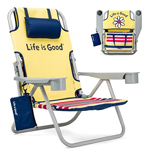 Life is Good Daisy Yellow Beach Chair, Short