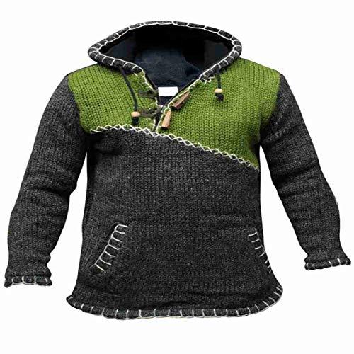 Herren Kapuzenpullover Nähen Kontrastfarbe Mode Jacquard Langarm Große Strickpullover mit Taschen 3XL