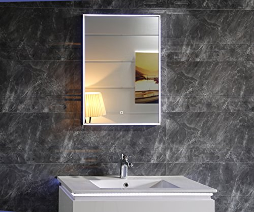 Dr. Fleischmann GS113 Miroir de Salle de Bain à LED avec Interrupteur Tactile Blanc lumière du Jour 50 x 70 cm